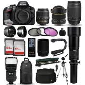 """Nikon D3200 DSLR Digital Camera + 18-55mm VR + 6.5mm Fisheye + 55-300mm VR + 650-2600mm Lens + Filters + 128GB Memory + Action Stabiliser + i-TTL Autofocus Flash + Backpack + Case + 70"""" Tripod"""