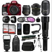 """Nikon D3200 Red DSLR Digital Camera + 18-55mm VR + 6.5mm Fisheye + 55-300mm VR + 650-2600mm Lens + Filters + 128GB Memory + Action Stabiliser + i-TTL Autofocus Flash + Backpack + Case + 70"""" Tripod"""