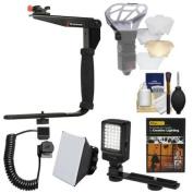 Stroboframe Quick Flip 350 Flash Bracket + Cord + Diffusers + LED Light + DVD Kit for Nikon D3200, D3300, D5300, D5500, D7100, D7200, D610, D750, D810, D4s