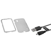 Insten T-Smoke Hard Phone Skin Case Cover+1.8m USB Cord Cable For LG Nexus 4 E960