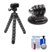 Precision Design PD-T14 Flexible Compact Camera Mini Tripod with GoPro Adapter + Cleaning Kit for Original HD HERO, HD HERO2, HERO3, HERO3+, HERO4 Cameras
