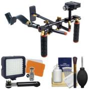 DLC V2 HD-DSLR Camera Video Rig Shoulder Brace Stabiliser with LED Video Light + Cleaning Kit