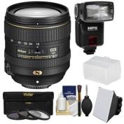 Nikon 16-80mm f/2.8-4E VR DX AF-S ED Zoom-Nikkor Lens + 3 Filters + iTTL Flash + Diffuser + Softbox Kit for D3200, D3300, D5300, D5500, D7100, D7200 Camera