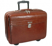 K-Cliffs Full Grain Leather Executive Rolling Laptop Briefcase 19 x 37cm x 15cm . Brown