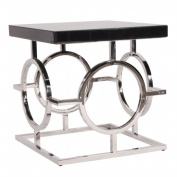 HowardElliotcollection 11183 Stainless Steel End Table With Black Top