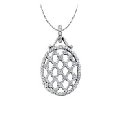 Fine Jewellery Vault UBNPD31899AGCZ Cubic Zirconia Oval Fashion Pendant in Sterling Silver 0.75 CT TGW Jewellery Gift for Women