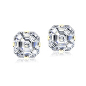 Lion Jewellers ESG13978 6 mm. 14K Yellow Gold Asscher Cut Cubic Zirconia Stud Earring