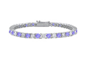 Fine Jewellery Vault UBUBR10WRD131500CZTZ Created Tanzanite and Cubic Zirconia Prong Set 10K White Gold Tennis Bracelet 5 CT TGW