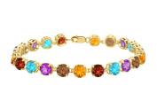 Fine Jewellery Vault UBBR55AGVYMC Multi Colour Tennis Bracelet in 18K Yellow Gold Vermeil. 12 CT. TGW. 18cm .