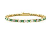 Fine Jewellery Vault UBUBRAGVYRD131100CZE May Birthstone Emerald and Cubic Zirconia Tennis Bracelet in 18K Yellow Gold Vermeil 1 CT TGW