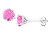 Fine Jewellery Vault UBERMT200AGPT Sterling Silver Martini Style Created Pink Topaz Stud Earrings with 2 CT TGW