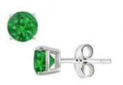 Fine Jewellery Vault UBUERRD600AGE Created Emerald Stud Earrings in Sterling Silver 2 Carat Total Gem Weight