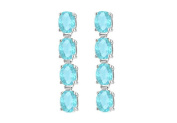 Fine Jewellery Vault UBER57W14AQ Totaling Eight Carat Oval Cut Created Aquamarine Drop Earrings in 14K White Gold Prong S