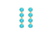 Fine Jewellery Vault UBER55Y14BT Eight Carat Round Created Blue Topaz Drop Earrings in 14K Yellow Gold Prong Setting