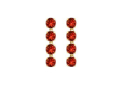 Fine Jewellery Vault UBER55Y14GR Totaling Eight Carat Round Garnet Drop Earrings in 14K Yellow Gold Prong Setting