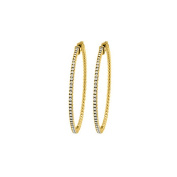 Fine Jewellery Vault UBNER40921Y14CZ15030 Cubic Zirconia Hoop Earrings for Women in 14K Yellow Gold 1.50 CT TGW