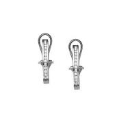 Fine Jewellery Vault UBNER40209W14D05016 Diamond Hoop Earrings for Women in 14K White Gold 0.50 CT TDWApril Birthstone Jewellery