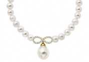 Fine Jewellery Vault UBNKPD3042AGVYCZFWWH 0.50ct CZ Infinity Symbol on18K Yellow Gold Vermeil with 8MM Mother Pearl Necklace 17 in.