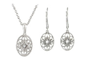 Fine Jewellery Vault UBPDERS67994AGD Sterling Silver Diamond Necklace and Lever Back Earrings Sets 0.09 CT TW