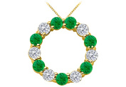 Fine Jewellery Vault UBPD1355Y14DE Green Natural Emerald and Diamond Circle Necklace in 14K Yellow Gold 2 Carat Total Gem Weight