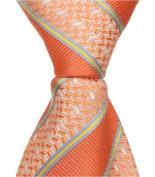 Matching Tie Guy 2582 O2 - 28cm . Zipper Necktie - Orange With Stripes 24 Month to 4T