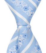 Matching Tie Guy 4601 X9 - 28cm . Zipper Necktie - Blue With Flowers 24 Month to 4T