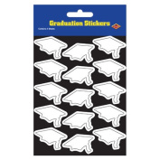 Beistle 54055-W Grad Cap Stickers White - Pack Of 12