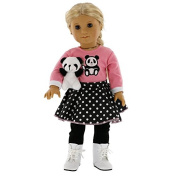 Panda Inspired Doll Clothes for American Girl and 46cm Dolls - Includes Shirt, Skirt, Leggings, Shoes, and Panda