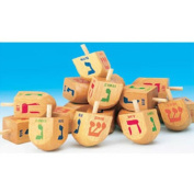 Jerusalem Driedel Large Natural Wooden Deluxe w English Translation 7.6cm Tall Dreidels in Bulk Pack 24pc