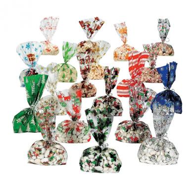 Christmas Cellophane Bags 9 dz assortmet - 108 pc