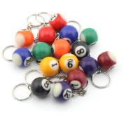 16 Assorted Colourful Billiards Pool Ball Keychain