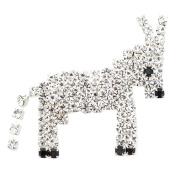 Silver Pixel Donkey Brooch Pin