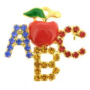 Teacher's Apple ABC Brooch Pin
