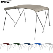 MSC 3 Bow Bimini Boat Top Cover with Rear Support Pole and Storage Boot, Colour Grey,Pacific Blue,Burgundy,Navy,Beige,Forest Green,White,Black,Seal available
