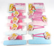 Official Licenced Disney Princess Cinderella Hair Accessories 4 X Hair Snap Clips Sleepies & 4 X Ponios Bobbles