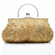 Anik Sunny Women's Shinny Floral Bead Sequin Soft Clutch Evening Bag Luxury Handbag Tote Wedding Party Bags