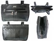 Ladies GENUINE LEATHER Handbag. Black Women's REAL Leather Shoulder Bag, 2 Straps, Multiple Pockets. Quenchy London Designer Handbags. QL172