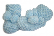 Blue Hand knitted DK Baby Booties in Honeycomb Pattern With PomPom Ties - Newborn 0-3 months