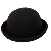 Butterme Kids Roll Brim Dura Cloche Bowler Hat Winter Wool Felt Fedora Billycock Cap Black