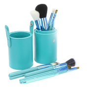 Green Leather Cup 12 Make up Brushes Cup Set Goat /Pony /Synthetic Hair, Aluminium Ferrule, Natural Wood Handle by TARGARIAN