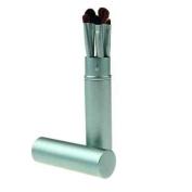 5 Eye Make up Brushes - Pony Hair, Aluminium Ferrule, Green Aluminium Tube by TARGARIAN