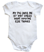 HippoWarehouse My Pig Likes Me So Who Cares What Anyone Else Thinks baby vest boys girls