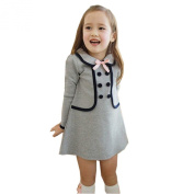 Arrowhunt Baby Girls Button Long Sleeve Preppy Style Fall Dress