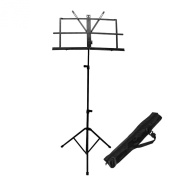 FU GLOBAL Perfect Music Beginner Start Tool Black Adjustable Folding Music Stand with Carrying Bag