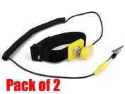 iMBPrice® (Pack of 2) Anti-Static Adjustable Wrist Strap Components Black, Yellow