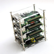 GeauxRobot Raspberry Pi 2 B 4-layer Dog Bone Stack Clear Case Box Enclosure also for Pi B+ B A