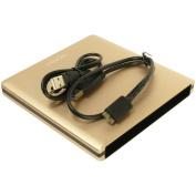 Pawtec Luxury Slim Aluminium USB 3.0 External Enclosure For Optical SATA Drive Blu-Ray DVD MAC / PC - Gold Edition