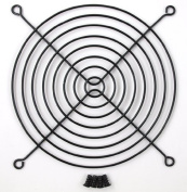 140mm Black Fan Grill with 4 Black Mounting Screws Included