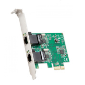 SYBA 2 Port Ethernet PCIe x 1 Card, Realtek RTL8111 Chipset with Standard and Low Profile Brackets SD-PEX24041