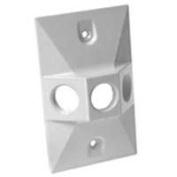 Bell Weatherproof 5189-1 White Weatherproof Cover Rectangular Cluster - Three Hole 8.9cm .